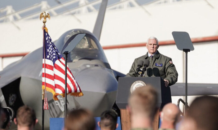 Vice President Mike Pence delivers a valedictory speech to service members at Lemoore Naval Air Station, Calif., on Jan. 16, 2021. (Department of Defense photo)
