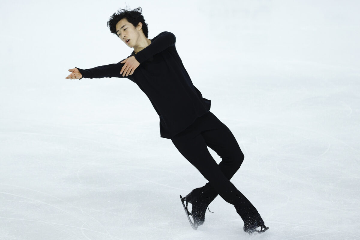 Nathan Chen competes in the men's free skate