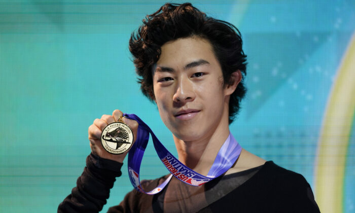 First-place finisher Nathan Chen poses with his medal in the men's championship at the U.S. Figure Skating Championships, in Las Vegas, on Jan. 17, 2021. (John Locher/AP Photo)