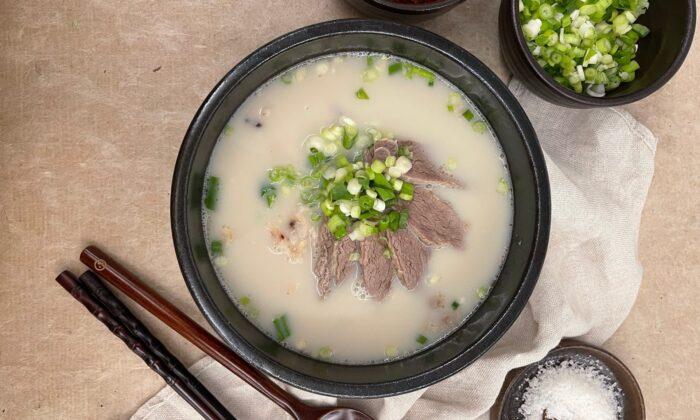 Serve your soup with rice, scallions, radish kimchi, and kosher salt, to season to taste. (Judy Joo)