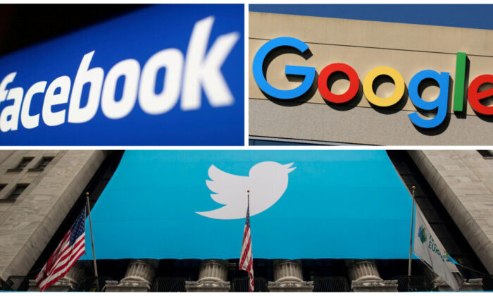 Facebook, Google, and Twitter logos in a combination photograph. (Reuters)