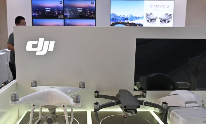 DJI drones are seen in a DJI store in Shanghai on May 22, 2019. (Hector Retamal/AFP via Getty Images)