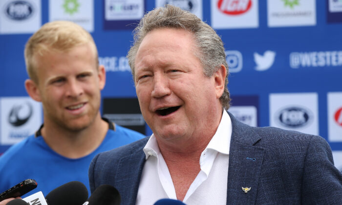 Andrew Forrest addresses the media on October 25, 2019 in Perth, Australia. (Paul Kane/Getty Images)