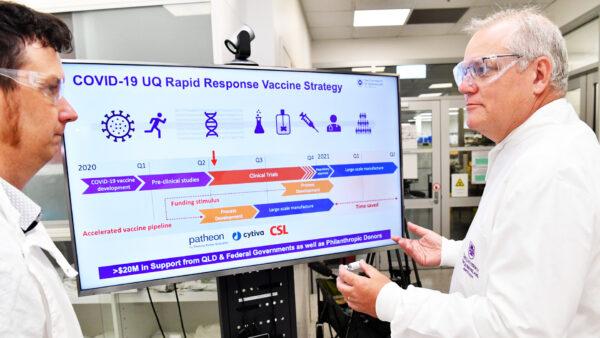 Prime Minister Scott Morrison Visits University of Queensland Vaccine Labs
