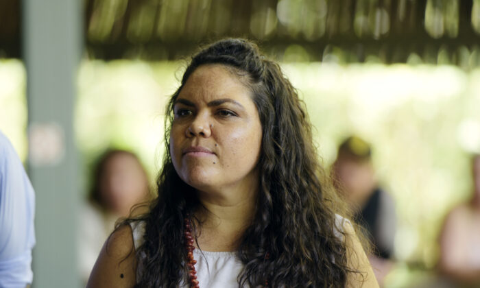 CLP candidate Jacinta Price during the Australian Prime Minister's press conference at the Bowali Visitor Centre, Jabiru, in the Northern Territory on Jan. 13, 2019. (AAP Image/ Michael Franchi)