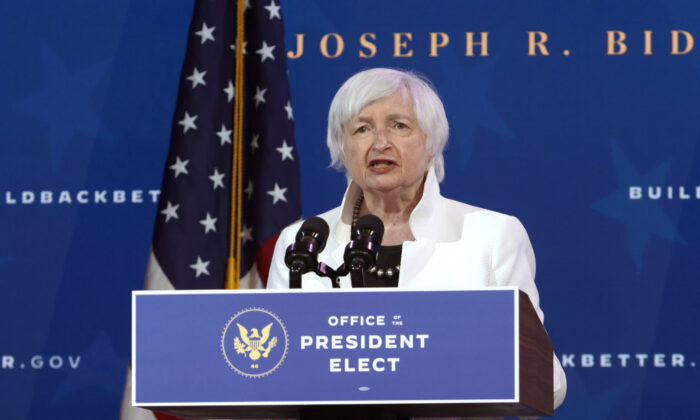U.S. Treasury Secretary nominee Janet Yellen speaks during an event to name then-President-elect Joe Biden's economic team at the Queen Theater in Wilmington, Del., on Dec. 1, 2020. (Alex Wong/Getty Images)