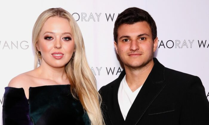 Tiffany Trump (L) and Michael Boulos pose backstage for Taoray Wang fashion show during New York Fashion Week: The Shows at Gallery II at Spring Studios on Feb. 9, 2019 in New York City. (Astrid Stawiarz/Getty Images for Taoray Wang)