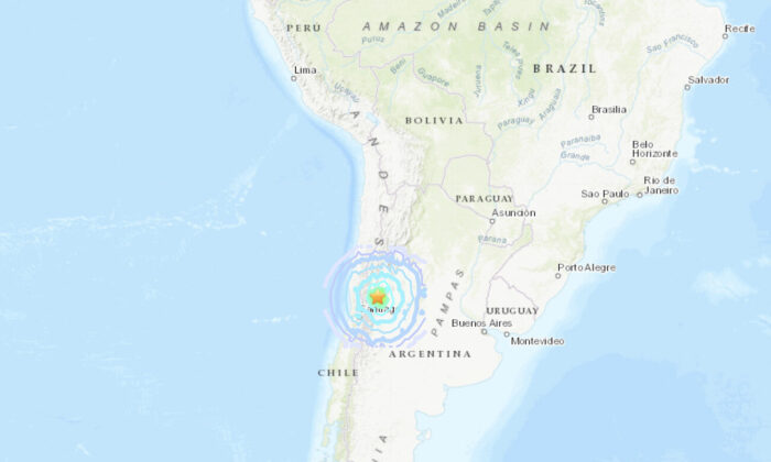 A magnitude 6.4 earthquake struck northwestern Argentina near border with Chile late on Jan. 18, 2021. (USGS)