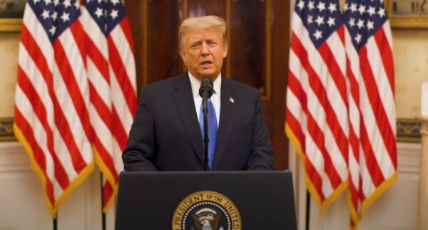 President Donald Trump delivers his farewell speech
