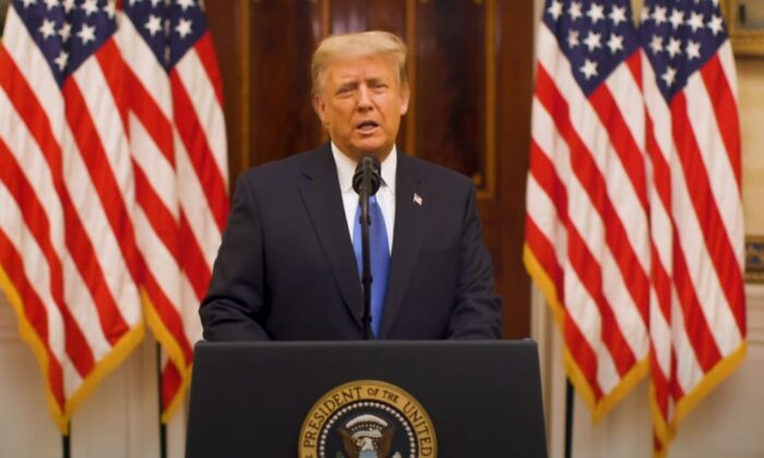 President Donald Trump delivered his farewell speech on Jan. 19. (White House/YouTube)