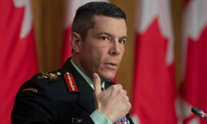 Major General Dany Fortin responds to a question on COVID vaccines during a news conference, on January 14, 2021 in Ottawa. (The Canadian Press/Adrian Wyld)