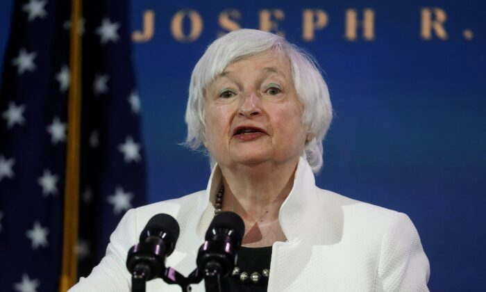 Treasury Secretary nominee Janet Yellen speaks in Wilmington, Del., on Dec. 1, 2020. (Leah Millis/Reuters)