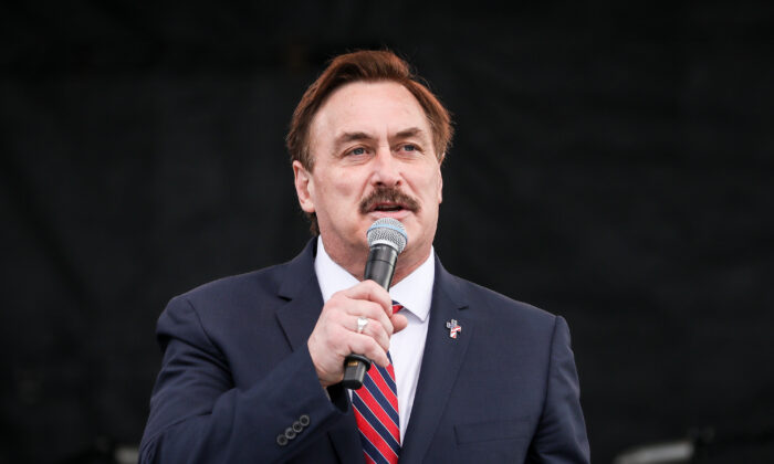 Mike Lindell, CEO of MyPillow, speaks at a National Prayer Rally on the National Mall in Washington on Dec. 12, 2020. (Samira Bouaou/The Epoch Times)
