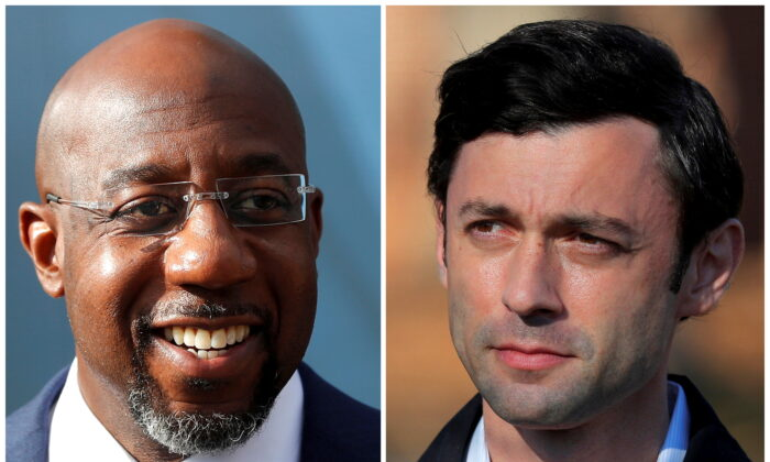 Democratic U.S. Senate candidates Rev. Raphael Warnock and Jon Ossoff are seen in a combination of file photographs as they campaign on Jan. 5, 2021. (Reuters)