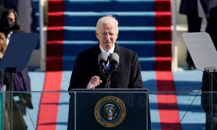 President Joe Biden speaks during the 59th inaugural ceremony on the West Front of the U.S. Capitol in Washington on Jan. 20, 2021. (Patrick Semansky/Pool/Getty Images)