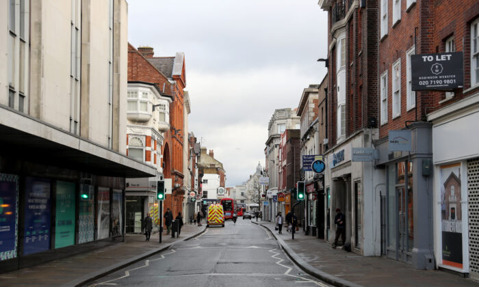 The partially deserted shopping high street in Richmond-Upon-Thames during England's third national CCP virus lockdown in Richmond, London, on Jan. 19, 2021. (Chris Jackson/Getty Images)