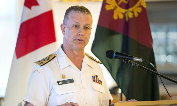 Admiral Art McDonald, then commander of the Royal Canadian Navy, gives a media briefing in Halifax on July 11, 2019. McDonald is the new chief of the defence staff, having taken over from Gen. Jonathan Vance on Jan. 14, 2020. (The Canadian Press/Andrew Vaughan)