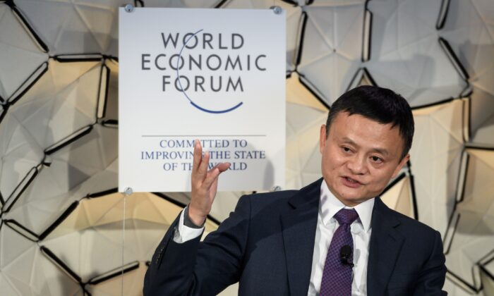 Jack Ma, chairman of Alibaba Group, gestures during a panel session at the World Economic Forum (WEF) annual meeting in Davos, eastern Switzerland, on Jan. 23, 2019. (Fabrice Coffrini/AFP via Getty Images)