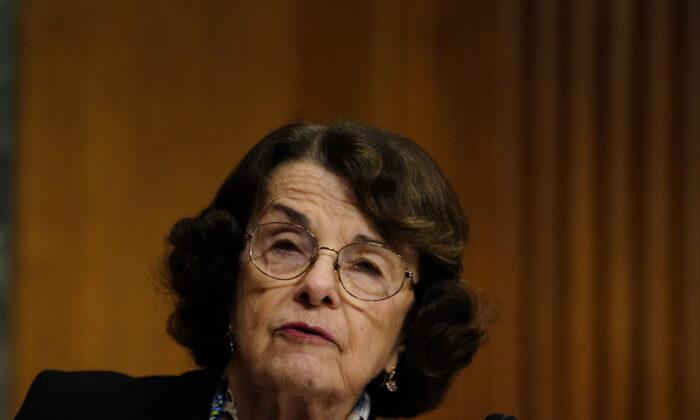 Sen. Dianne Feinstein (D-Calif.) speaks in Washington on Jan. 19, 2021. (Melina Mara/Pool/Getty Images)