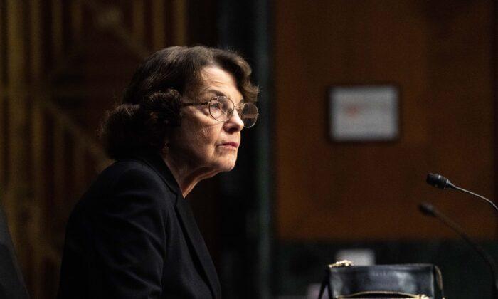 Sen. Dianne Feinstein (D-Calif.) speaks in Washington on Jan. 19, 2021. (Anna Moneymaker/Pool/AFP via Getty Images)
