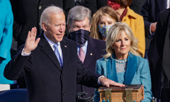 Joe Biden is sworn in as U.S. president during his inauguration on the West Front of the U.S. Capitol in Washington on Jan. 20, 2021. (Alex Wong/Getty Images)