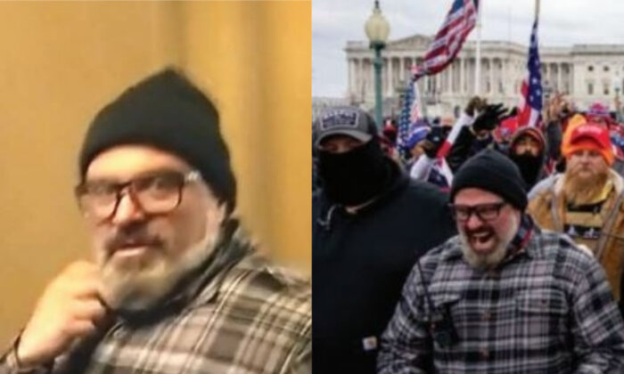 A man identified as Joseph Biggs is seen in the U.S. Capitol, left, and outside the building on Jan. 6, 2021. (FBI)