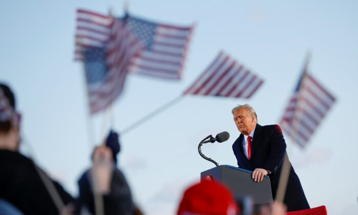 President Donald Trump speaks at the Joint Base Andrews, Md., on Jan. 20, 2021. (Carlos Barria/Reuters)