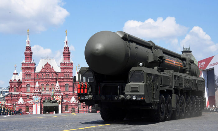 A Russian Yars intercontinental ballistic missile system drives during the Victory Day Parade in Red Square in Moscow, Russia, June 24, 2020. (Host photo agency/Iliya Pitalev via Reuters)