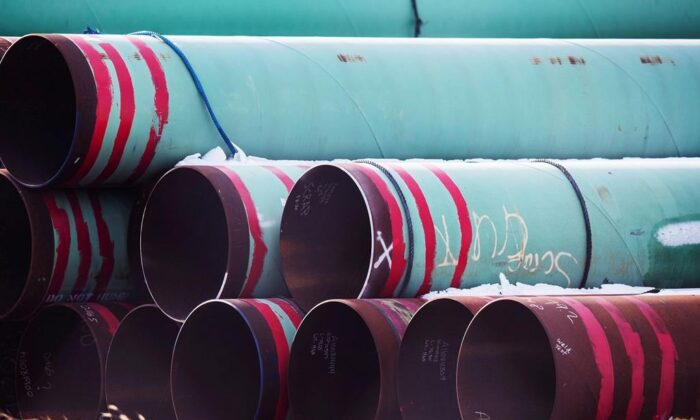 Pipes to be used for the Keystone XL pipeline are stored in a field near Dorchester, Neb., in this Dec. 18, 2020 photo. (Chris Machian /Omaha World-Herald via AP)