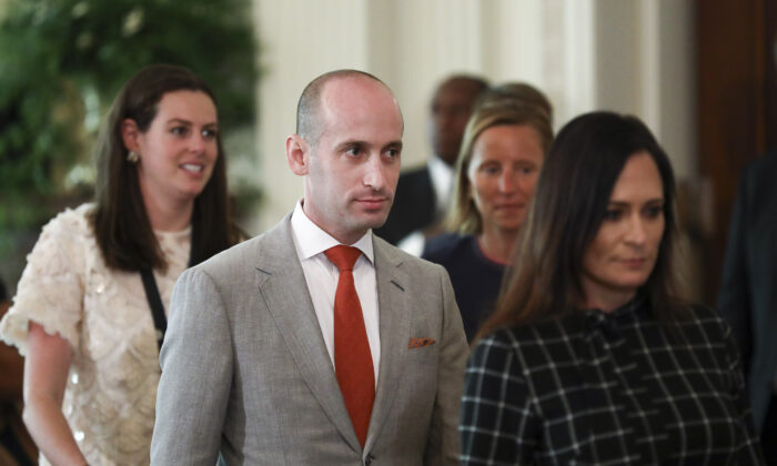 Stephen Miller, senior adviser to the president, attends a joint press conference with President Donald Trump and Australian Prime Minister Scott Morrison in the East Room of the White House in Washington on Sept. 20, 2019. (Charlotte Cuthbertson/The Epoch Times)