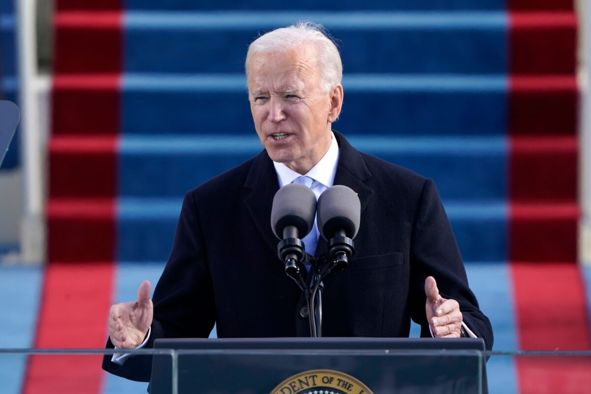 Biden gives inauguration speech