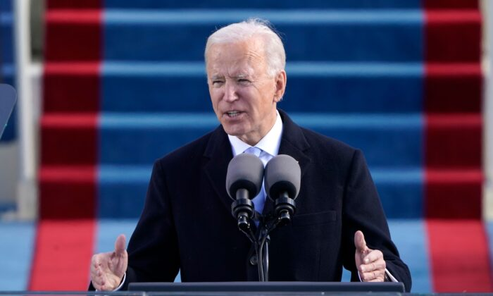 President Joe Biden delivers his Inauguration speech after being sworn in as the 46th President at the U.S. Capitol, on Jan. 20, 2021. (Patrick Semansky/AFP via Getty Images)