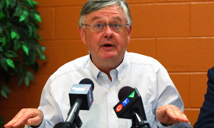 Dr. Richard Schabas, medical officer of health for Hastings and Prince Edward County, speaks to media at Quinte Health Care hospital in Belleville, Ont., on, Oct. 13, 2014. (Lars Hagberg/The Canadian Press)