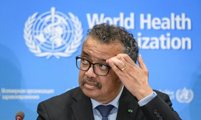 World Health Organization (WHO) Director-General Tedros Adhanom Ghebreyesus gives a press conference at Geneva's WHO headquarters on Feb. 24, 2020. (Fabrice Coffrini/AFP via Getty Images)