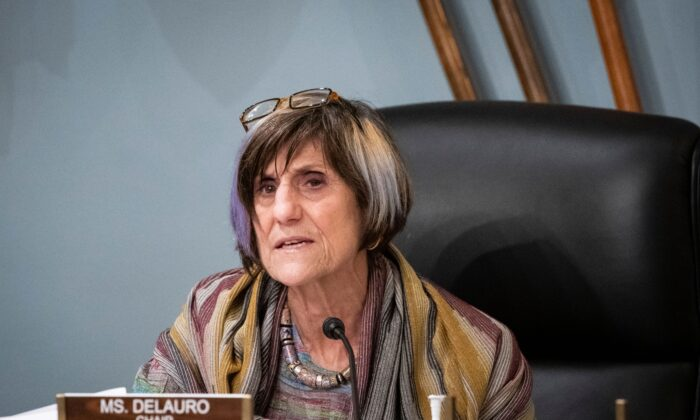 Rep. Rosa DeLauro (D-Conn.) speaks during a Labor, Health and Human Services, Education and Related Agencies Subcommittee hearing in Washington, on June 4, 2020. (Al Drago/POOL/AFP via Getty Images)