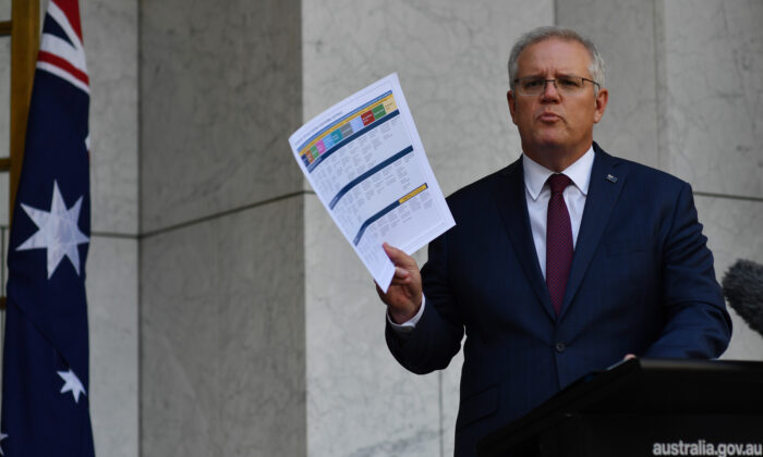 Prime Minister Scott Morrison holds a news conference on November 13, 2020 in Canberra, Australia. (Sam Mooy/Getty Images)