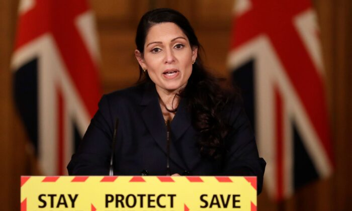 Britain's Home Secretary Priti Patel speaks during a virtual press conference on the COVID-19 pandemic, at 10 Downing Street in central London, on Jan. 21, 2021. (Matt Dunham /Pool/AFP via Getty Images)