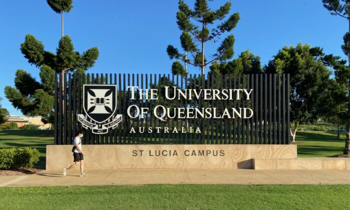 Front entrance to the University of Queensland on Jan. 12, 2021 in Brisbane, Australia. (Daniel Teng/The Epoch Times)