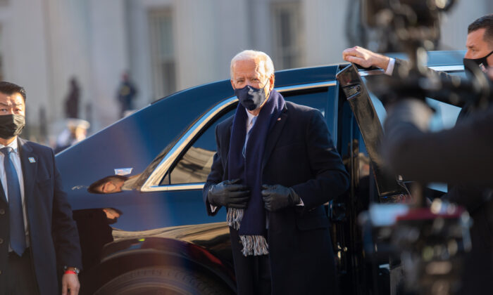 U.S. President Joe Biden prepares to walk the abbreviated parade route in front of the White House after his inauguration in Washington on Jan. 20, 2021. (Mark Makela/Getty Images)