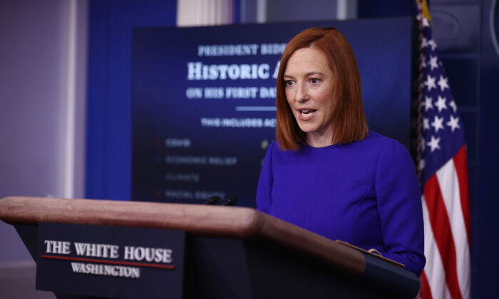 White House press secretary Jen Psaki conducts her first news conference, in Washington on Jan. 20, 2020. (Chip Somodevilla/Getty Images)