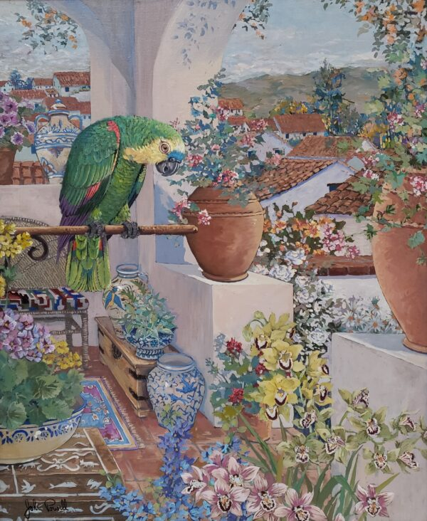A Veranda of Lush Colors in 'Parrots and Rooftops'