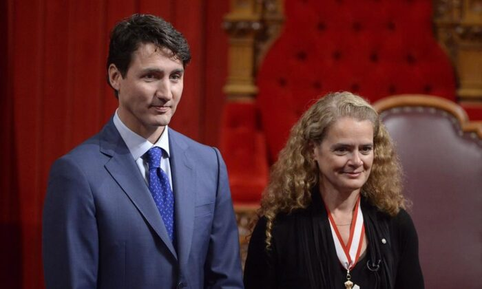 Canada's 29th Governor General Julie Payette looks on alongside Prime Minister Justin Trudeau in the Senate chamber during her installation ceremony, in Ottawa on Oct. 2, 2017. (Adrian Wyld/The Canadian Press)