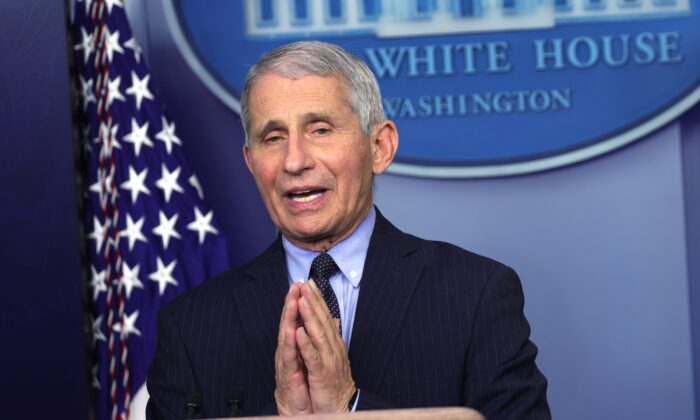 Dr. Anthony Fauci, Director of the National Institute of Allergy and Infectious Diseases, speaks during a White House press briefing, conducted by White House Press Secretary Jen Psaki, at the James Brady Press Briefing Room of the White House in Washington on Jan. 21, 2021. (Alex Wong/Getty Images)