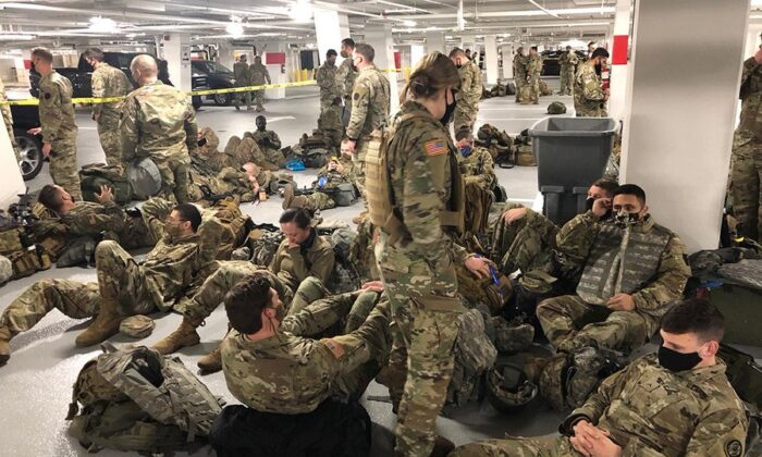 National Guardsmen in a garage on Capitol Hill. (Courtesy Kevin McCarthy)