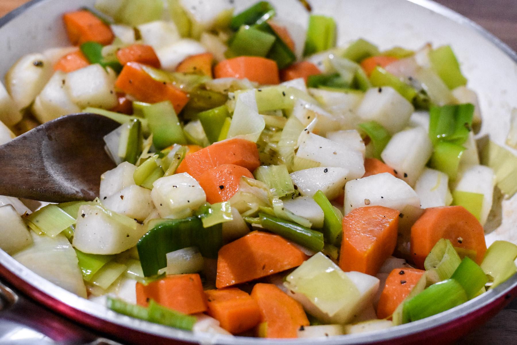 Garbure Soup - sautee vegetables in duck fat