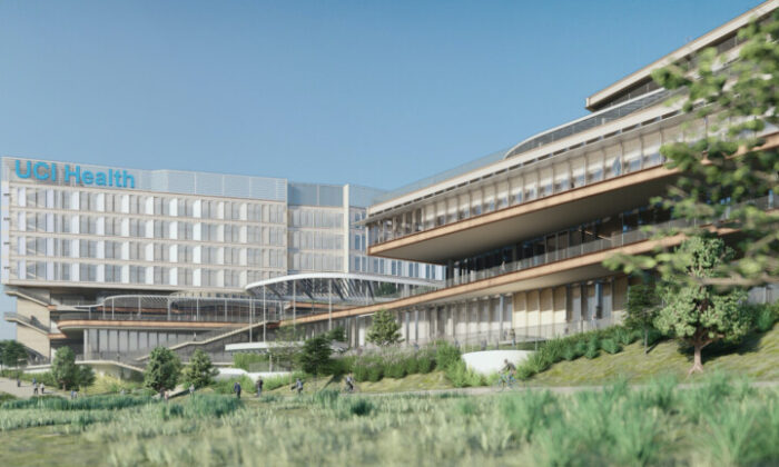 A rendering of UCI Medical Center Irvine-Newport, a full-service academic health complex, was released Jan. 21, 2020. (Courtesy of University of California—Irvine)