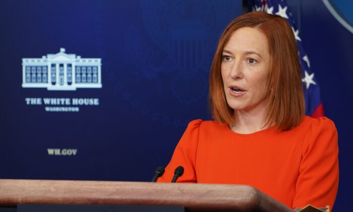 White House Press Secretary Jen Psaki speaks during the daily briefing in the Brady Briefing Room of the White House in Washington on Jan. 21, 2021. (MANDEL NGAN/AFP via Getty Images)