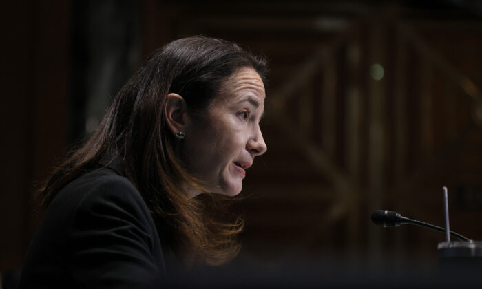Avril Haines speaks during her confirmation hearing before the Senate Intelligence Committee in Washington on Jan. 19, 2021. (Joe Raedle/Getty Images)
