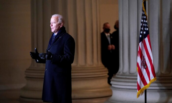President Joe Biden addresses the nation at the Lincoln Memorial after being inaugurated, in Washington on Jan. 20, 2021. (Joshua Roberts/Pool/Reuters)