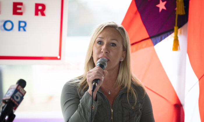 Then-Georgia Republican House candidate Marjorie Taylor Greene at a press conference in Dallas, Georgia on Oct. 15, 2020. (Dustin Chambers/Getty Images)